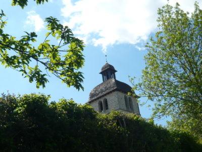 Le clocher de Mourjou vu de la Maison de La Châtaigne