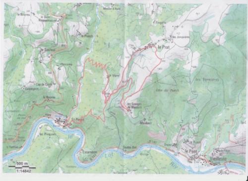 Plan PR St Projet de Cassaniouze vers Le Prat